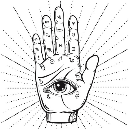 psychic: Fortune Teller Hand with Palmistry diagram, hand-drawn all seeing eye.