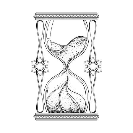 sacred heart: Vintage antique wizard hourglass in dotwork tattoo design for alchemist t-shirt print, adult coloring book, pages. Hand drawn sand timer vector illustration, monochrome sketch. Illustration