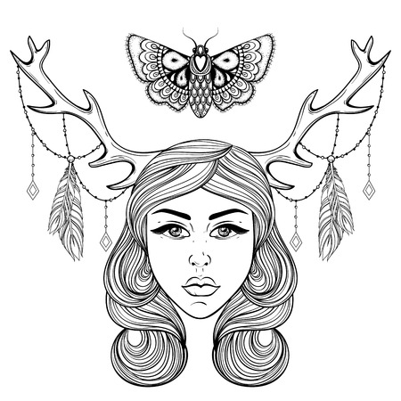 hair feathers: Beautiful girl with boho deers horns like shaman. Vector forest nymph, woman for adult coloring pages, spirituality, occultism symbol, tattoo, hand drawn ethnic t-shirt print.
