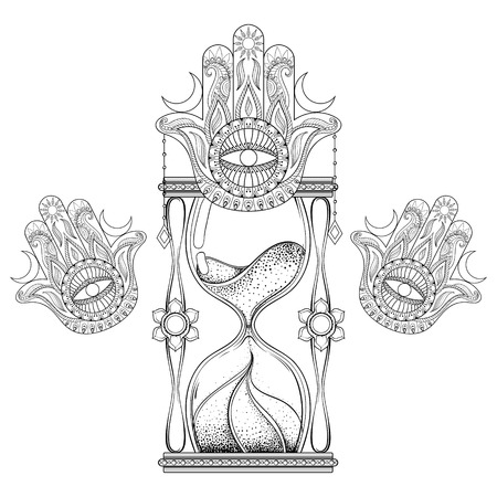 Hand drawn antique wizard hourglass with hamsa hand vector illustration. Illustration