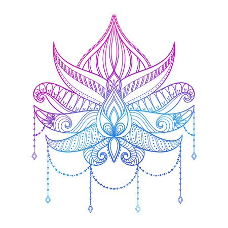 Hand drawn vector Lotus flower illustration, color ornamental ethnic paisley.  Tattoo art, boho and magic symbol in zentangle style for adult coloring page.