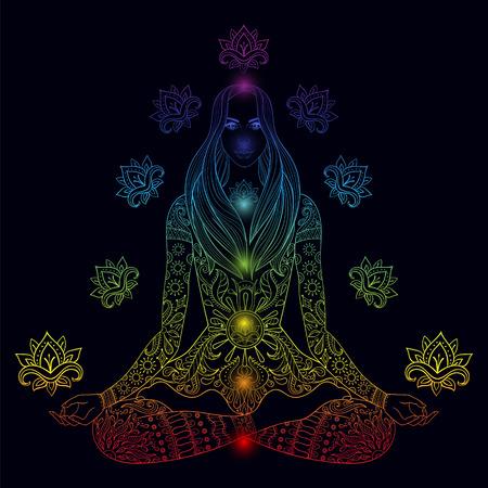 persona sentada: Niña sentada en posición de loto con chakras. Vector a la mujer boho adornado con flor de loto para colorear páginas para adultos, la meditación, el yoga, símbolo color de fondo oscuro.