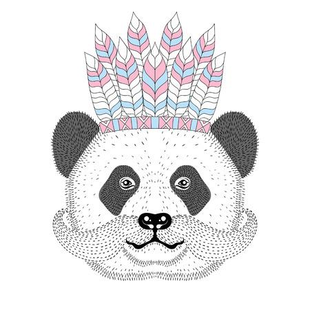 Cute panda with mustache, war bonnet on head. Illustration