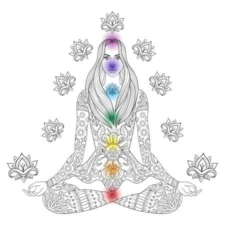 girl pose: Girl sitting in lotus pose with chakras.