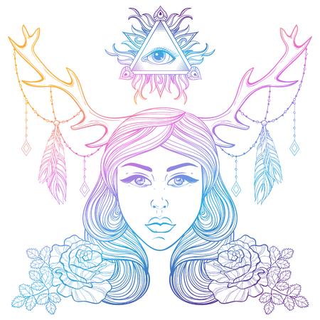simbolo de la mujer: Hermosa chica con cuernos adornados elementos boho.