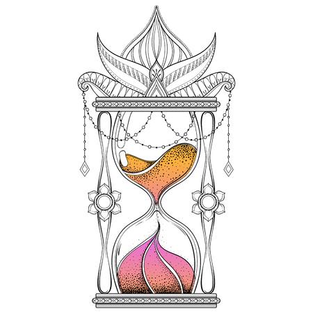 alchemist: Vintage timer with color sand in dotwork tattoo design for alchemist t-shirt print. Hand drawn antique wizard hourglass vector illustration.