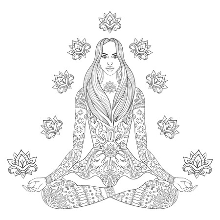 Meditating beauyiful girl sitting in lotus pose.  Vector ornate boho woman with lotus-flower for adult coloring pages, meditation, yoga symbol, gypsy soul, hand drawn ethnic motif.