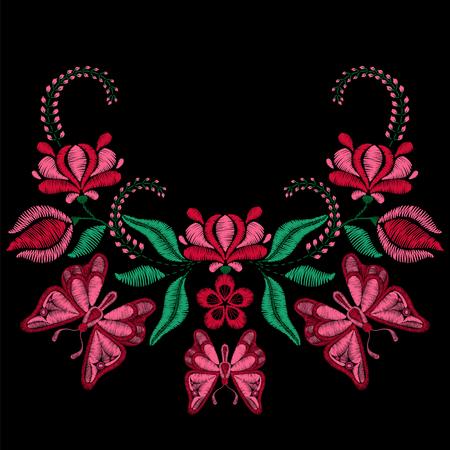 bordados: Bordado con flores de mariposa, primavera. Collar de tela, textil estampado floral. El diseño de moda para la decoración desgaste de la niña. La tradición motivo ornamental. Vectores