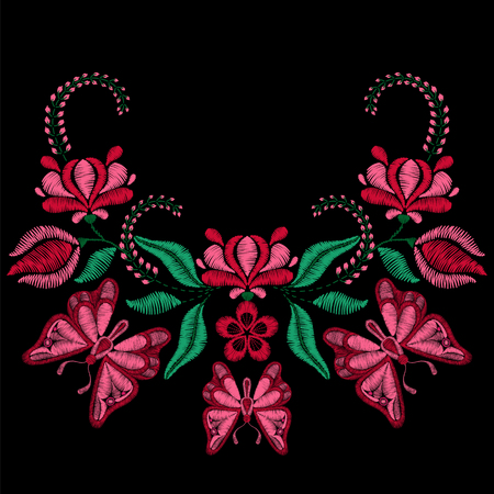 Embroidery with butterfly, spring flowers. Necklace for fabric, textile floral print. Fashion design for girl wear decoration. Tradition ornamental pattern.