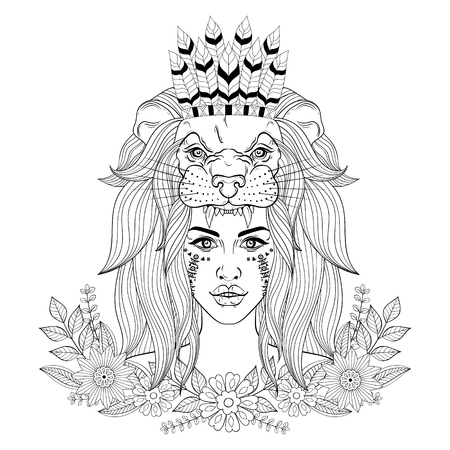Portrait of the vintage boho girl with lion head mask with war bonnet and floral wreath.