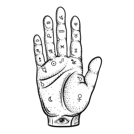 psychic: Fortune Teller Hand with Palmistry diagram, sketch with hand-drawn all seeing eye. Illustration