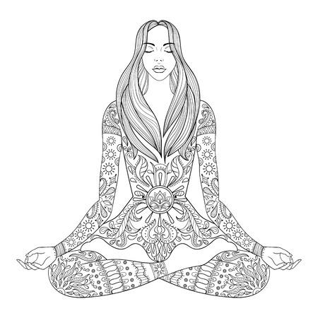 Woman sitting in lotus pose. Stock Illustratie