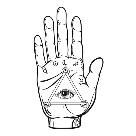 psychic: Fortune teller hand sketch with hand drawn all seeing eye.