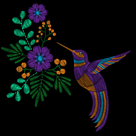 Embroidery stitches with hummingbird, wild flowers. fashion ornament in pastel color for textile, fabric traditional folk decoration.
