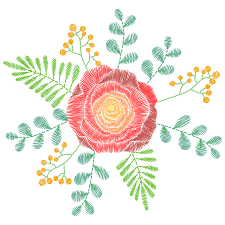 Embroidery Stitches With Spring Flowers Wildflowers Rose Grass