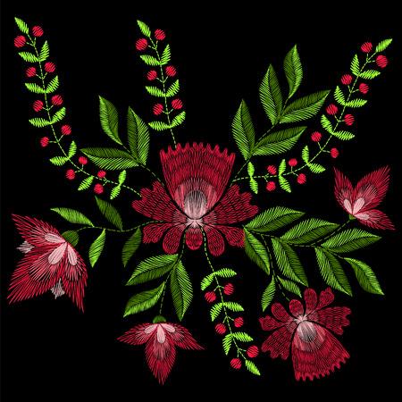 Borduursteken met lente-roze bloemen. mode ornament op zwarte achtergrond voor textiel, stoffen traditionele folk floraldecoration.