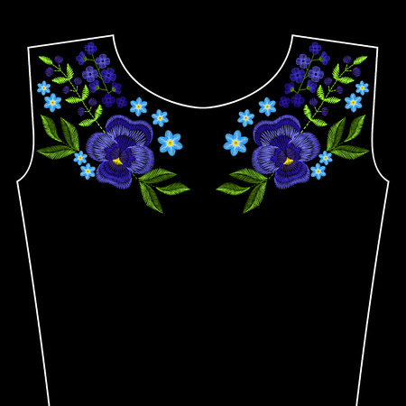 Embroidery stitches with violet flowers for neckline. fashion ornament on black background for textile, fabric traditional folk decoration.
