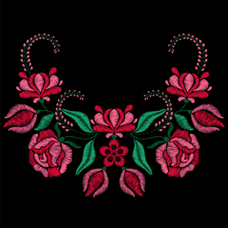 Embroidery with roses, spring flowers. Necklace for fabric, textile floral print. Fashion design for girl wearing decoration. Tradition ornamental pattern. illustration on black background. Vettoriali