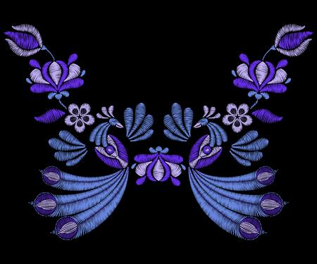 broderie: Broderie avec des oiseaux de paon, fleurs à l'indigo printanier. Encolure pour tissu, impression floral textile. Conception de mode pour décoration pour fille. Tradition, motif décoratif. Illustration