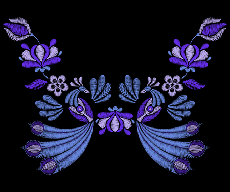 Embroidery with peacock birds, spring indigo flowers. Neckline for fabric, textile floral print. Fashion design for girl wear decoration. Tradition ornamental pattern. Illustration