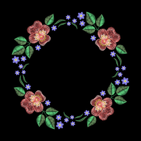 Vintage embroidery wreath with viola forget me not. fashion ornament on black background for textile, fabric traditional folk decoration.