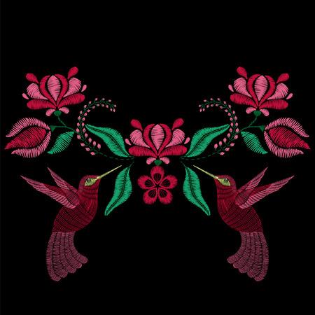 broderie: Broderie au colibri, fleurs printanières. Collier en tissu, imprimé floral textile. Conception de mode pour décoration pour fille. Tradition, motif décoratif.