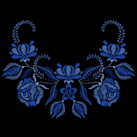青い花、バラ刺繍。生地、繊維花柄のネックレス。女の子のファッション ・ デザインの装飾を着用します。伝統の装飾的なパターン。イラスト。