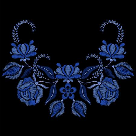 Stickerei mit blauen Blumen, Rosen. Halskette für Stoff, Textil-Blumendruck. Mode-Design für Mädchen tragen Dekoration. Tradition Ornamentmuster Illustration.