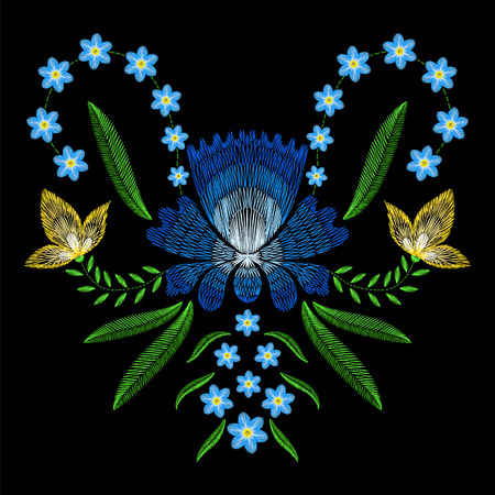 Embroidery stitches with spring flowers forget me not. fashion ornament on black background for textile, fabric traditional folk floraldecoration.