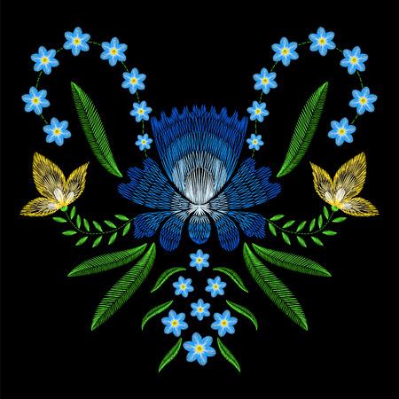 bordados: puntadas de bordado con flores de primavera no me olvidan. ornamento manera en fondo negro para la industria textil, tela floraldecoration popular tradicional.