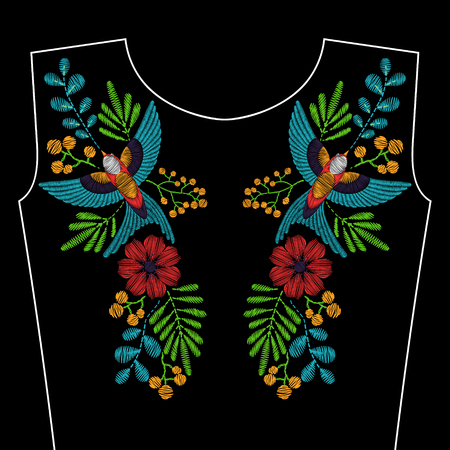 Embroidery with swallow bird, wild flowers for neckline. fashion ornament on black background for textile, fabric traditional folk decoration.