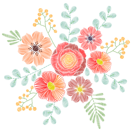 Embroidery stitches with wildflowers, spring flowers, grass, branches in pastel color. fashion ornament for textile, fabric traditional folk floral decoration. Illustration