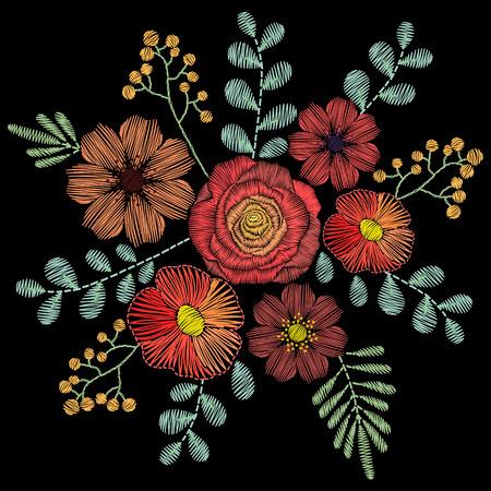 자수는 파스텔 색상의 야생화, 봄 꽃, 잔디, 나뭇 가지와 스티치. 직물 전통 민속 꽃 장식 검은 배경에 패션 장식입니다.