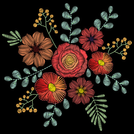 embroidery: Embroidery stitches with wildflowers, spring flowers, grass, branches in pastel color. fashion ornament on black background for fabric traditional folk floral decoration.