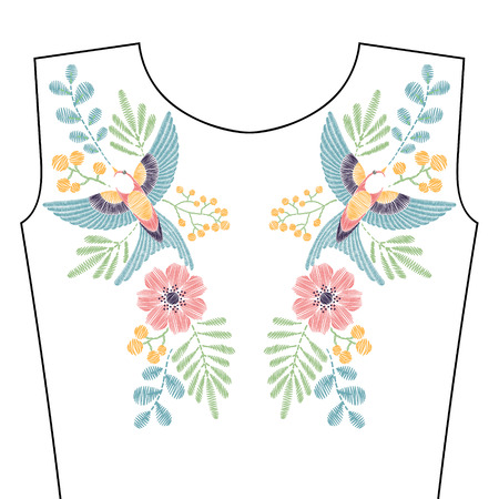 Embroidery stitches with spring swallow bird, wild flowers for neckline. fashion ornament in pastel color for textile, fabric traditional folk decoration. Illustration