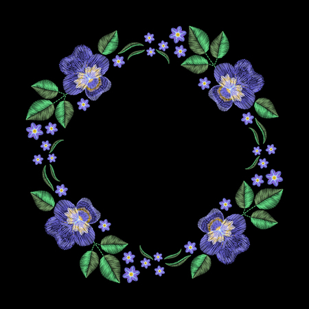 forget me not: Vintage embroidery wreath with violet, forget me not. fashion ornament on black background for textile, fabric traditional folk decoration.