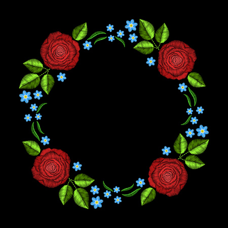 fashion background: Vintage embroidery wreath with roses for decor. fashion ornament on black background for textile, fabric traditional folk decoration.