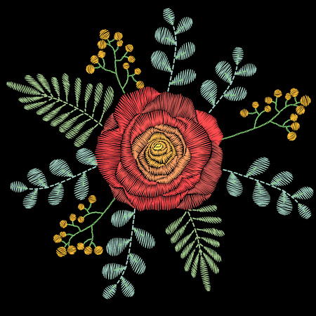 Embroidery stitches with spring flowers, wildflowers, rose, grass, branches. fashion ornament on black background for textile, fabric traditional folk floral decoration. Vettoriali