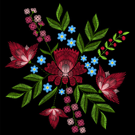 Embroidery stitches with pink flowers. fashion ornament on black background for textile, fabric traditional folk floral decoration.