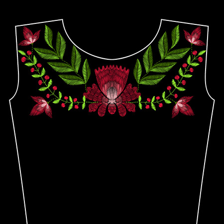 artwork: Embroidery stitches with spring rose flowers for neckline. fashion ornament on black background for textile, fabric traditional folk floraldecoration. Illustration