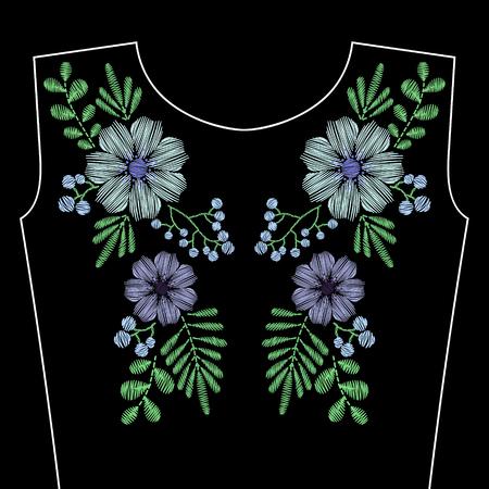 Bordado cose con flores silvestres azules para el escote. ornamento de la manera del vector sobre fondo negro para la industria textil, decoración popular tradicional tela.