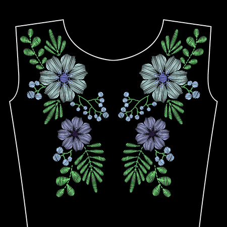 Embroidery stitches with blue wild flowers for neckline. Vector fashion ornament on black background for textile, fabric traditional folk decoration.