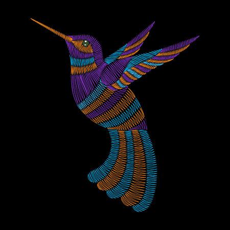 zafiro: colibrí bordado, pájaro tropical exótico. la manera del vector La impresión ornamental para la industria textil, decoración popular tradicional tela.