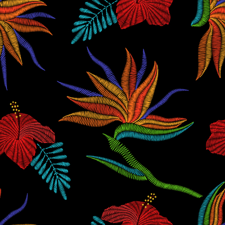 Embroidery Bird of Paradise flowers, tropical Strelitzia, hibiscus seamless pattern. Vector fashion ornamental floral print on black background for fabric traditional folk decoration.