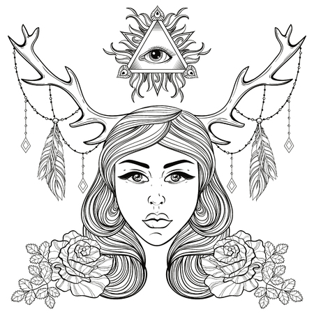 adult woman: Beautiful girl with horns decorated boho elements. Vector  woman with roses, all seeing eye. Forest nymph for adult coloring pages, spirituality, occultism symbol, gypsy soul, tattoo template. Illustration