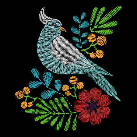 Embroidery Bird with flowers, Dove pattern. Vector fashion ornamental floral print on black background for fabric traditional folk decoration.