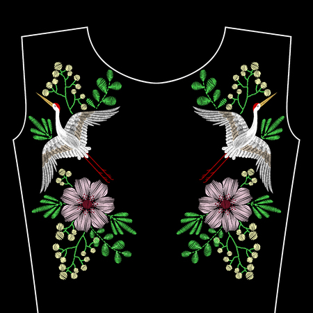 鶴鳥刺繍ステッチ、ネックラインのばねの野生の花.ベクトルのファッションは、繊維、ファブリック伝統的な民俗装飾、花柄の黒の背景に飾り刺繍