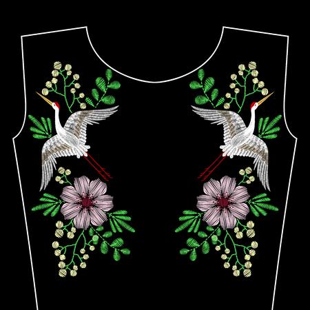 bordados: Bordado cose con el pájaro de la grúa, flores salvajes de la primavera para el escote. la manera del vector ornamento bordado sobre fondo negro para la industria textil, telas de decoración popular tradicional, estampado de flores.