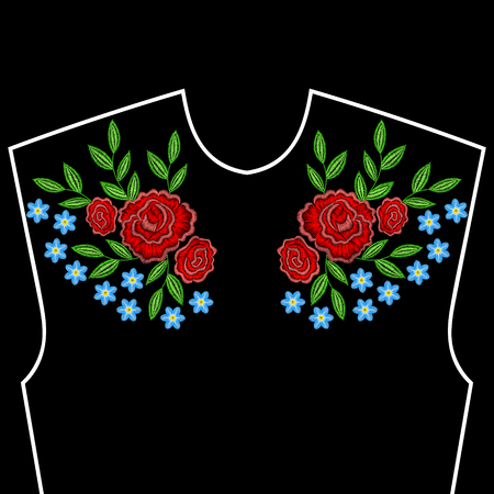Embroidery stitches with roses, forget me not flowers for neckline. Vector fashion embroidered ornament on black background for textile, fabric traditional folk decoration.