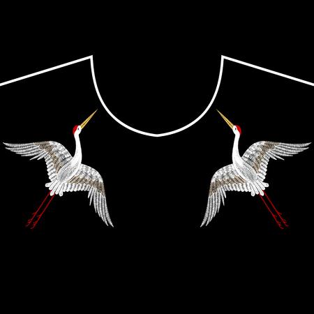 Embroidery Asian Cranes, birds for neckline. Vector fashion embroidered ornament on black background for textile, fabric traditional folk decoration. Ilustração